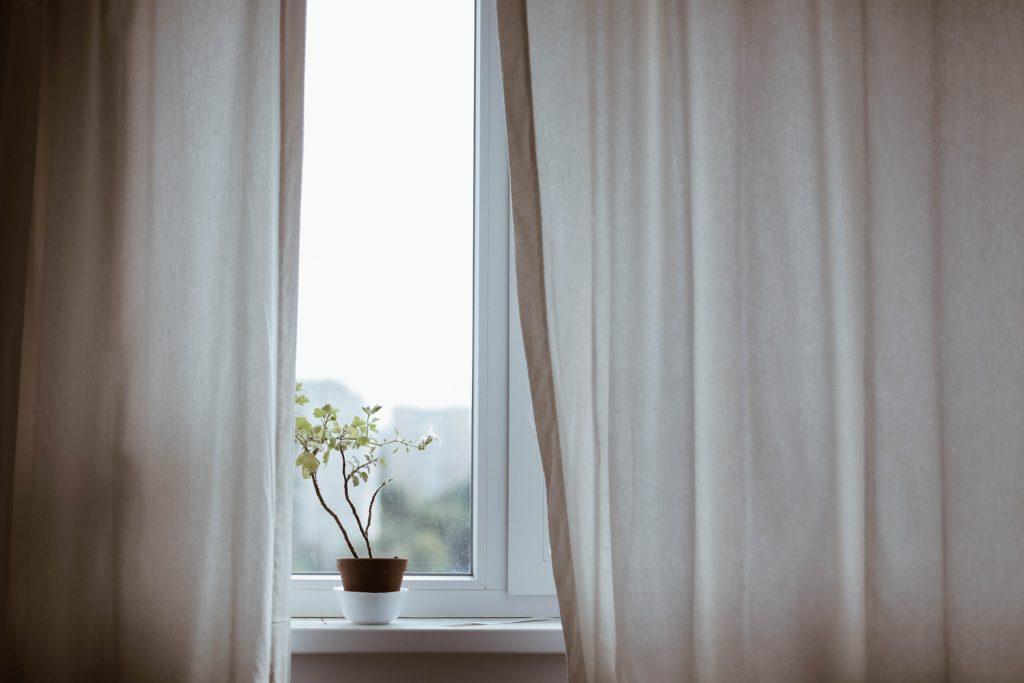 白い花が飾ってある、白いカーテンの窓辺