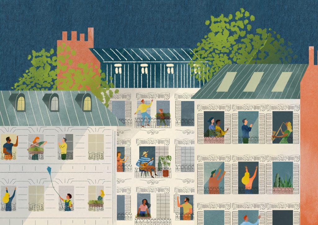 アパートにたくさんの人が住んでいる絵の画像