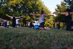 公園でヨガのグループレッスンをしている写真