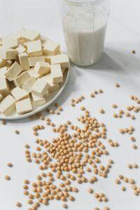 豆腐と大豆と豆乳の写真